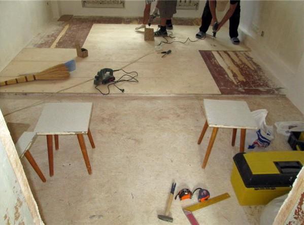 Укладка фанеры на старый деревянный пол