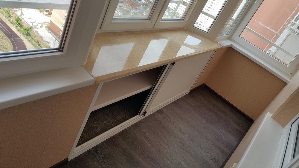 Ламинат на полу балкона
