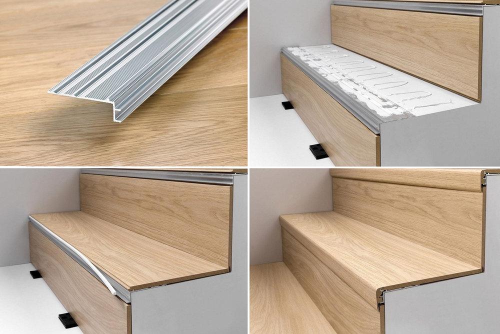Ламинированный алюминиевый профиль для обшивки лестницы ламинатом