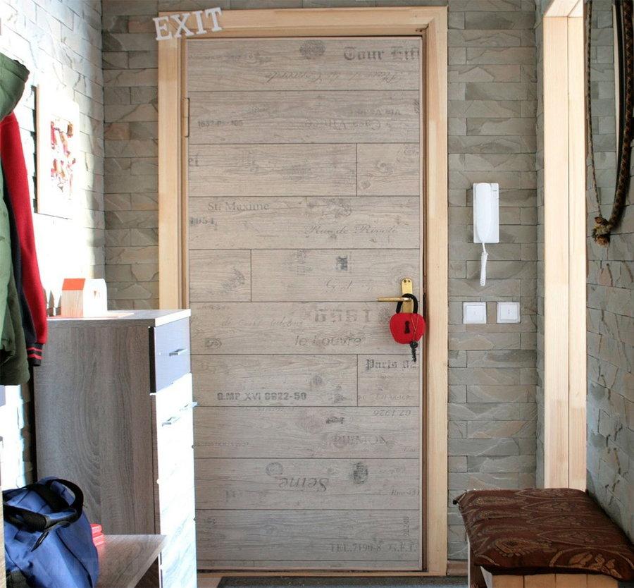 Обивка двери ламинатом