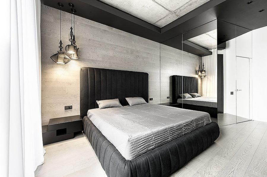 Ламинат на стенеа спальной комнаты в стиле Хай-тек